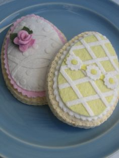 Felt Sugar Cookie Pink and Yellow Easter Eggs by ViviansKitchen, $28.00