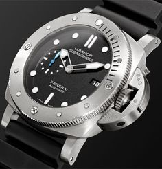 Black Luminor Submersible 1950 3 Days Automatic Titanium and Rubber Watch, Ref. Luminor Panerai Watch, Panerai Watches, Panerai Luminor Submersible, Correct Time, English Shop, Rubber Watches, Mr Porter, Sport Watches, Black Rubber