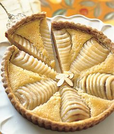 Pear and almond tart.  Chickpea n rice flour crust from small plates