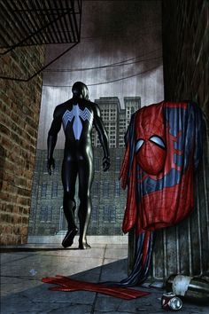 Black suit Spider-Man.