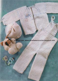 Receita de casaquinho e macacão em crochê tamanho 1 (0A3MESES)