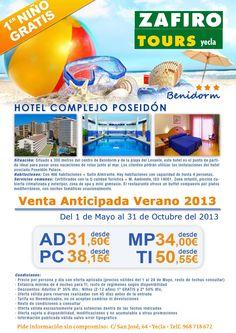 Zafiro tours en Yecla te ofrece un todo incluido en hotel poseidom 3* de Benidorm desde 31,50 en regimen de alojamiento y desayuno !!! ven y reserva ya !!! primer niño gratis !!!