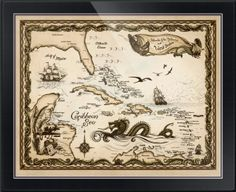 """""""Caribbean Nautical Chart"""" by Savanna Redman, Caribbean // Islands of the Bahamas and West Indies Islands of the Bahamas and West Indies'  Caribbean ChartDrawn and painted by hand. Using India ink layered with a watercolor wash. An idyllic day; the trade winds (as a cherub) gently playing with old sailing ship... // Imagekind.com -- Buy stunning fine art prints, framed prints and canvas prints directly from independent working artists and photographers."""