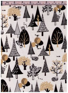 HALF YARD Sneaky Cats hiding in Forest on WHITE - Gold, Tree, Woodland, Cat Butt and Tail, Graphic, Fish Bones - Cotton  Japanese Imported