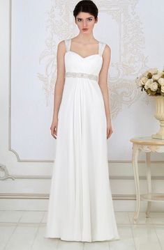 20e0c677d223f Sheath Long Empire Ruched Sleeveless Strapped Chiffon Wedding Dress With Waist  Jewellery