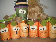 """Craft Goodies: Halloween Goodies! She wrapped paper pumpkins around orange soda cans left in a 6-pack. Tied on a fun ribbon {Yep, it's burlap! Go Wal-mart.} Then attached a note that said """"Hope your Halloween is packed with fun! Happy Halloween from our patch to yours..."""""""