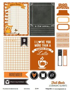 fall, owls, journaling cards