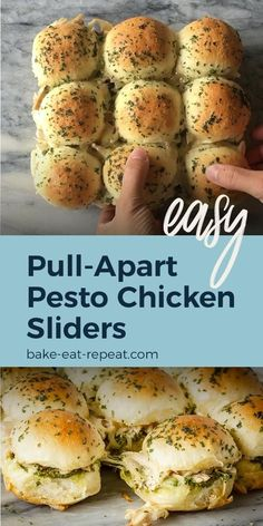 These easy to make, pesto chicken pull apart sliders are the perfect quick and easy dinner – and the leftover sliders are amazing for lunch the next day! yummy unhealthy videos Make these easy pull apart pesto chicken sliders for dinner tonight! Meat Appetizers, Appetizers For Party, Appetizer Recipes, Dinner Recipes, Easter Recipes, Chicken Sliders, Turkey Sliders, Slider Recipes, Pesto Chicken