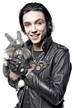 He's holding a freaking bunny!!<<<< Juliet and Andy got a puppy named Daredevil!!!!