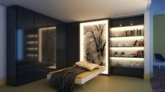 beleuchtung im schlafzimmer wandbild-idee-regal-indirekt-hochglanz-kleiderschrank