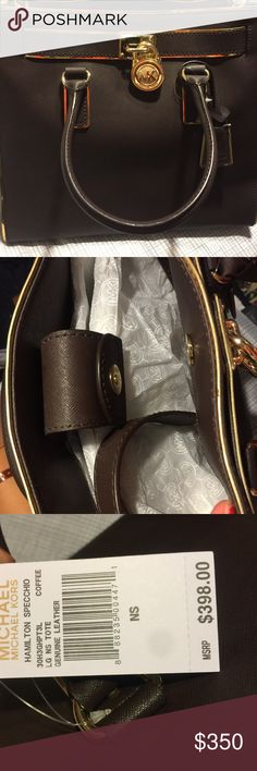 Large MK Hamilton Bag is brand new with tags, gold trim, chocolate brown, and has a strap that can be used to wear the purse over the shoulder. Dust bag is included. Offers are welcomed. Also, this bag is 100% AUTHENTIC. Michael Kors Bags Satchels