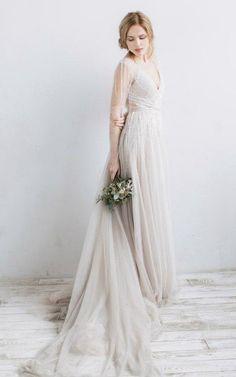 Beaded tulle Wedding Dress at $143.71 at June Bridals! We offer off the shoulder wedding dresses, long sleeve wedding dresses, lace wedding dresses and many other affordable wedding dresses, shop before the sale ends! #junebridals