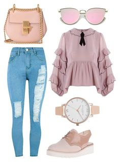 """Untitled #1502"" by adancetovic on Polyvore featuring For Love & Lemons, Nine West, WithChic, Chloé and Olivia Burton"
