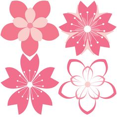 XOO Plate :: 11 Cherry Blossom Vector Patterns Set - Pink cherry blossom floral patterns including individual petals - each in PNG and AI file.