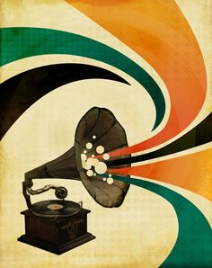 'The Gramophone' wood block print