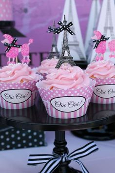 Love these cupcakes at a French painting birthday party! See more party ideas at CatchMyParty.com!