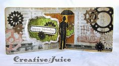 Creative Juice using Tim Holtz and Karen Burniston products to make an amazing card - inside; Dec 2013