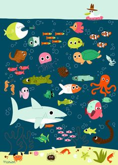 Poissons by Marion Billet – L'Affiche Moderne Art Wall Kids, Art For Kids, Wall Art, Under The Sea Theme, Animal Posters, Sea Fish, Ocean Themes, Fish Art, Children's Book Illustration