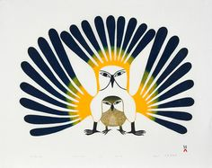 Illustratie van twee uilen. Grote veren. Complementaire gebruik van kleuren. Heel licht en donker te samen.
