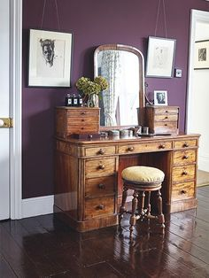 Real home: a renovated Victorian semi-detached home antique mahogany dressing table in bedroom with dark purple walls in a Victorian home Source by Dark Purple Bedrooms, Dark Purple Walls, Purple Rooms, Purple Bedroom Walls, Girls Bedroom, Purple Wall Paint, Burgundy Bedroom, Purple Bedroom Design, Bedroom Colors