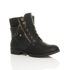 Womens ladies low heel flat lace up knitted collar cuff zip combat military army ankle boots size: Amazon.co.uk: Shoes & Bags