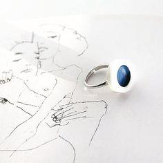 OLGA KABIE Ring in deep ocean blue |Handcrafted Porcelain + Sterling Silver Rhodium Plated| #olgakabie