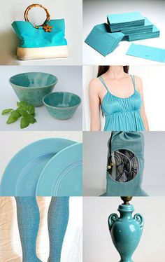 Teal by  Violeta Warner from QVintage          --Pinned with TreasuryPin.com