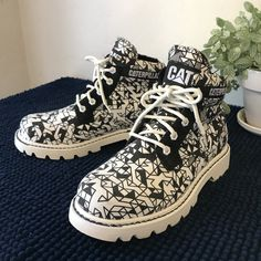 6b6e958b Cat Caterpillar Work Boots Lace up Round toe Canvas chunky 9 - Depop  Timberland Boots,