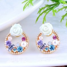 Nice stud #earring, with Glass #Pearl & Resin, more colors.