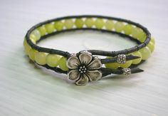 Wrap bracelet with Hill Tribes silver, Bohemian jewelry, gemstones, leather, yellow green southwest boho chic, stackable. $34.00, via Etsy.