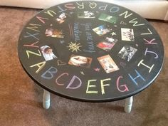 Chalk board coffee table for the kids play room