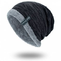 f99e27f1b35db8 High-quality Mens Solid Color Stripe Knitted Plus Velvet Fashion Beanie Hats  For Men Outdoor Keep Warm Caps - NewChic Mobile