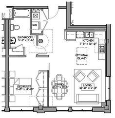 Bed sitter floor plan floor plans pinterest flats for House plans for retired couples