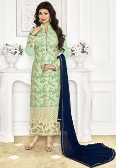 "#Beautiful #Light #Green #Georgette #Chuddidar #Kameez with #Dupatta Light Green Georgette kameez designed with Zari,Resham Embroidery With Stone Work And Patch Work. Available with Light Green Santoon Bottom with matching Chiffon Dupatta. This Semi Stitch kameez can be customized upto 44"""" inches. #With #Exciting #Offer INR:-2,938.00 Only Shop Now At http://tinyurl.com/hj5bqlk"
