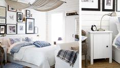 Erschwingliches Schlafzimmerdesign u. a. mit BRUSALI Bettgestell mit 4 -kästen weiß, NYPONROS Bettwäsche-Set 3-teilig weiß/blau, ALINA Tages...