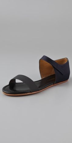 3.1 phillip lim navy sidibe flat sandals, $375