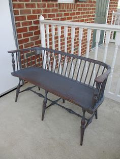 GreatWindsorChairs.com: Primitive Painted Windsor Settee