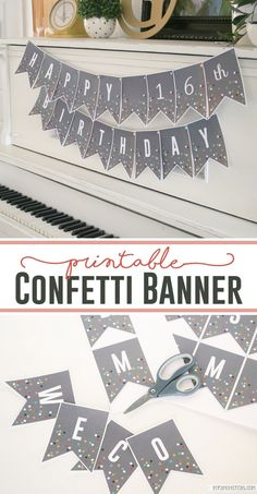 Printable Confetti Banner Letters - - Printable Confetti Banner Letters DIY beeing creative DIY banner with printable letters Happy Birthday Banner Printable, Diy Birthday Banner, Happy Birthday Banners, Free Printable Banner Letters, Birthday Flags, Farm Birthday, Birthday Invitations, Birthday Parties, Welcome Back Banner