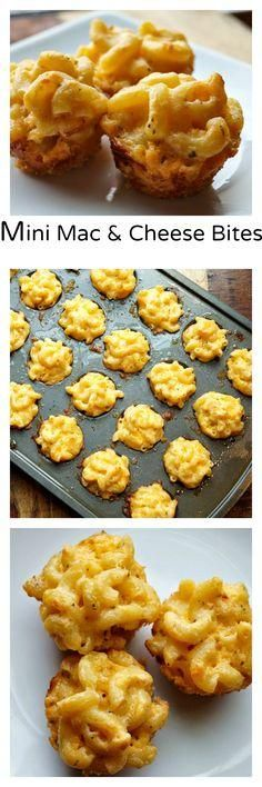 Wedding Food Mini Macaroni and Cheese Bites, A great finger food! - Mini Macaroni and Cheese Bites are the perfect cheesy, appetizer! Everyone loves this quick and easy appetizer recipe! Mac And Cheese Bites, Mac Cheese, Macaroni Cheese, Cheese Food, Cheese Snacks, Butter Cheese, Cheese Recipes, Mac And Cheese Muffins, Macaroni Pie