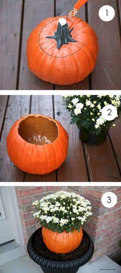 Fabulous Fall & Thanksgiving Decoration Ideas - For Creative Juice DIY Faux Pumpkin Flower Pot. Make this fall flower pot with a faux pumpkin from dollar store for your porch decoration this fall season. Fall Flower Pots, Pumpkin Flower, Diy Pumpkin, Pumpkin Vase, Pumpkin Planter, Pumpkin Carving, Fall Flowers, Pumpkin Crafts, Pumpkin Squash