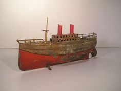 Early German Carette Tin Clockwork Ocean Liner Antique Tin Toy Boat