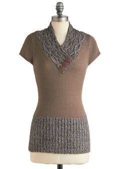 Awfully Frond of You Top - Tan, Grey, Buttons, Knitted, Casual, Short Sleeves, Long, Solid, Fall    But maybe not in beige...