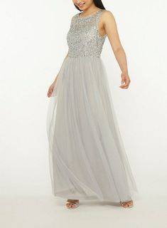 8b2240a048a   Showcase Petite Grey  Harper  Maxi Dress