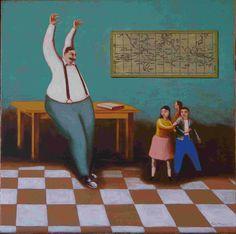 Celui qui raconte les histoires - acrylique sur toile - 45x45 cm