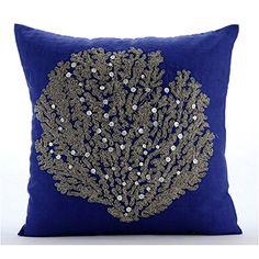 Royal Blue Cushion Covers, Beaded Sea Weeds Sea Creatures... https://www.amazon.com/dp/B016H8W5J2/ref=cm_sw_r_pi_dp_x_uPROybW4670GB