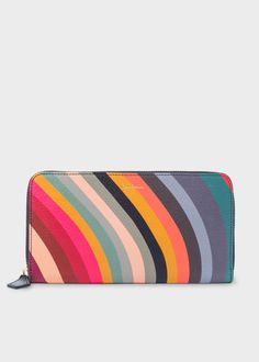 PAUL SMITH Women's Large 'Swirl' Print Leather Zip-Around Purse. #paulsmith #