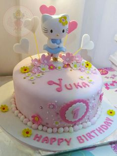 Pink, flowers, and hello kitty. How sweettttt...  #hellokittycake