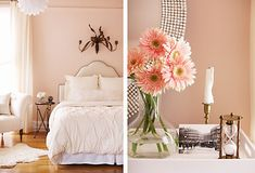 Loving these pale pink walls in the bedroom. Pale pink or blush makes everyone look great when they are in the room.