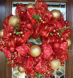 Red and Gold deco mesh Christmas wreath Christmas decorations holiday decor red…