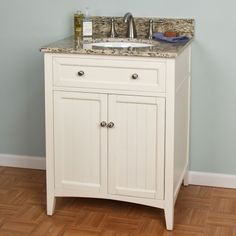 "white bathroom vanity - signature hardware - 24"" Halifax Vanity for Undermount Sink  - 626$"